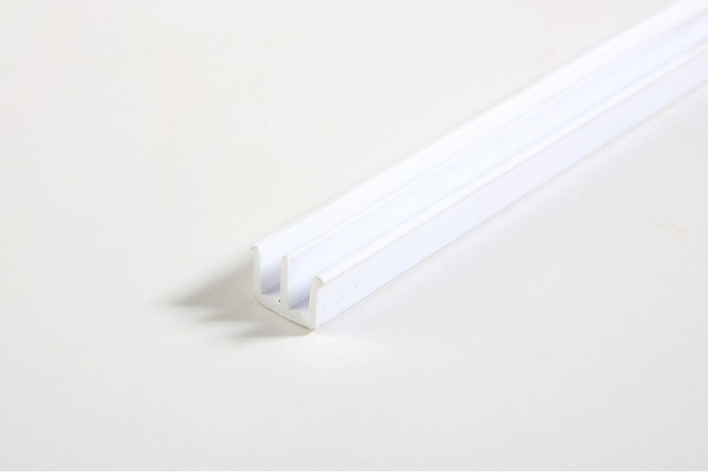 Bėgelis stiklo durelėms viršutinis 2.5m BALTAS