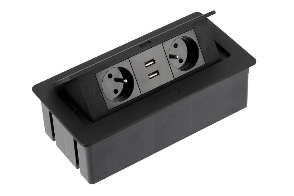 Rozetė x2 įleidžiama su USB JUODA