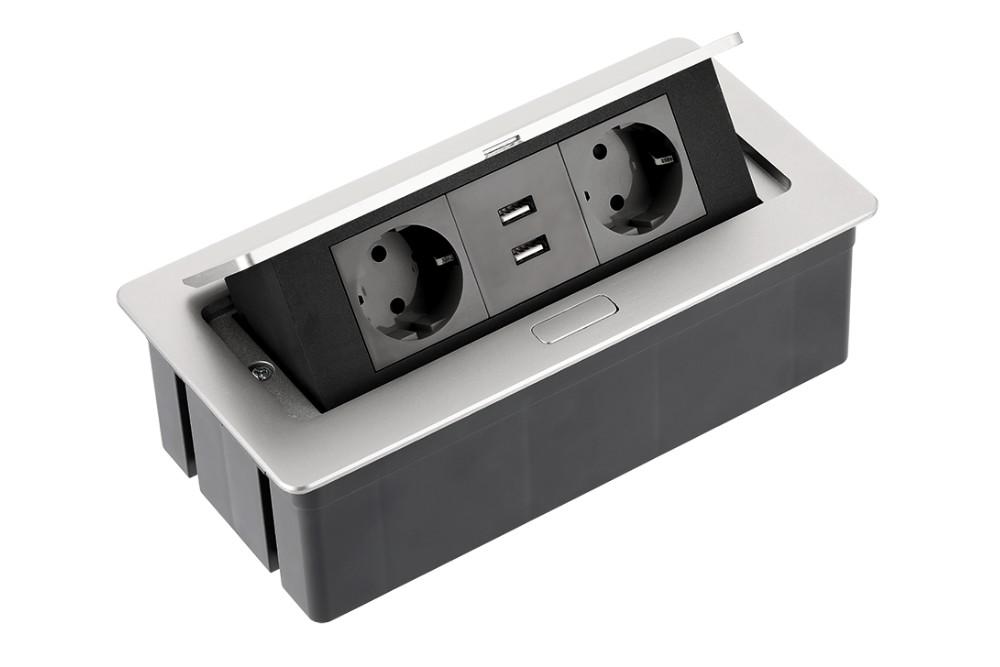 Rozetė x2 įleidžiama su USB METALIC