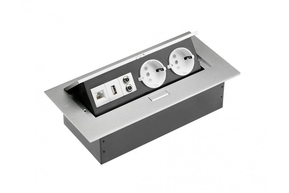 Rozetė x2 stačiakampė su USB METALIC