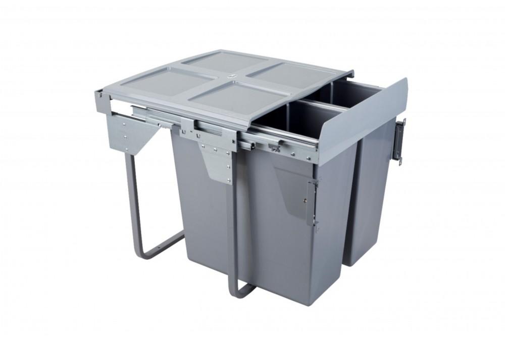 Šiukšliadėžė 60cm x2 su fasado tvirtinimu ir švelnaus uždarymo funkcija