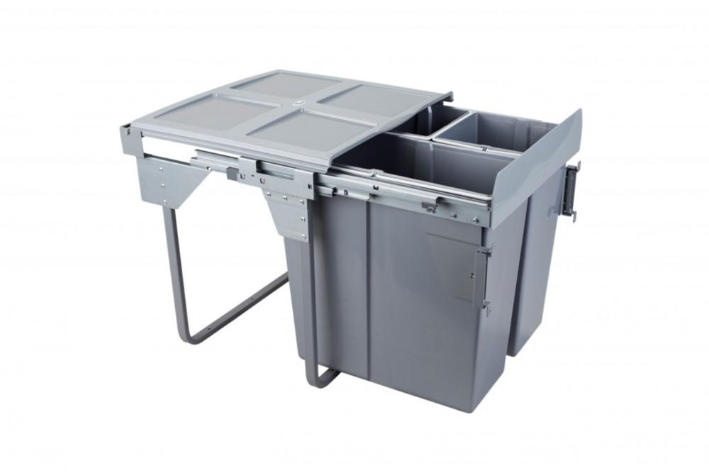 Šiukšliadėžė 60cm x3 su fasado tvirtinimu ir švelnaus uždarymo funkcija